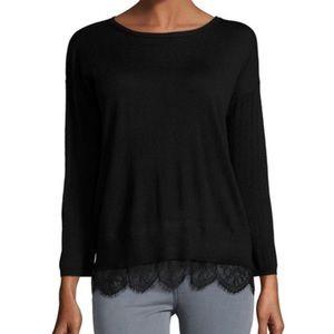 Joie Cashmere Wool Blend Sweater Lace Hem Size Sm